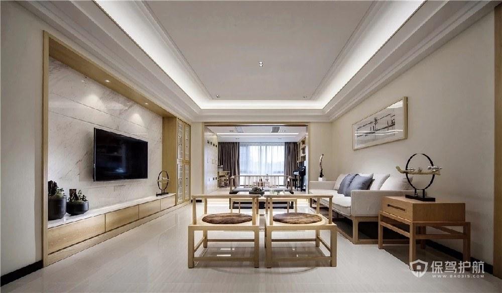 150平素净新中式三居室客厅电视墙装…