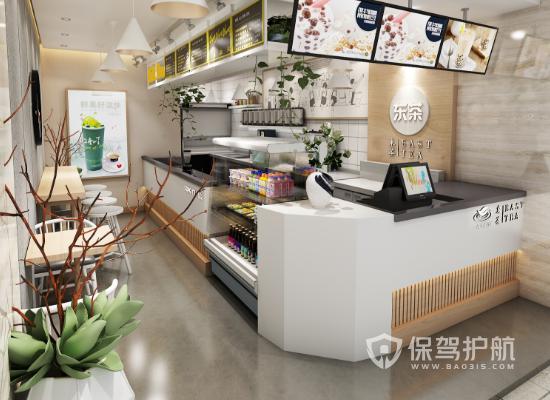 13平米现代简约风格小吃店装修效果图…