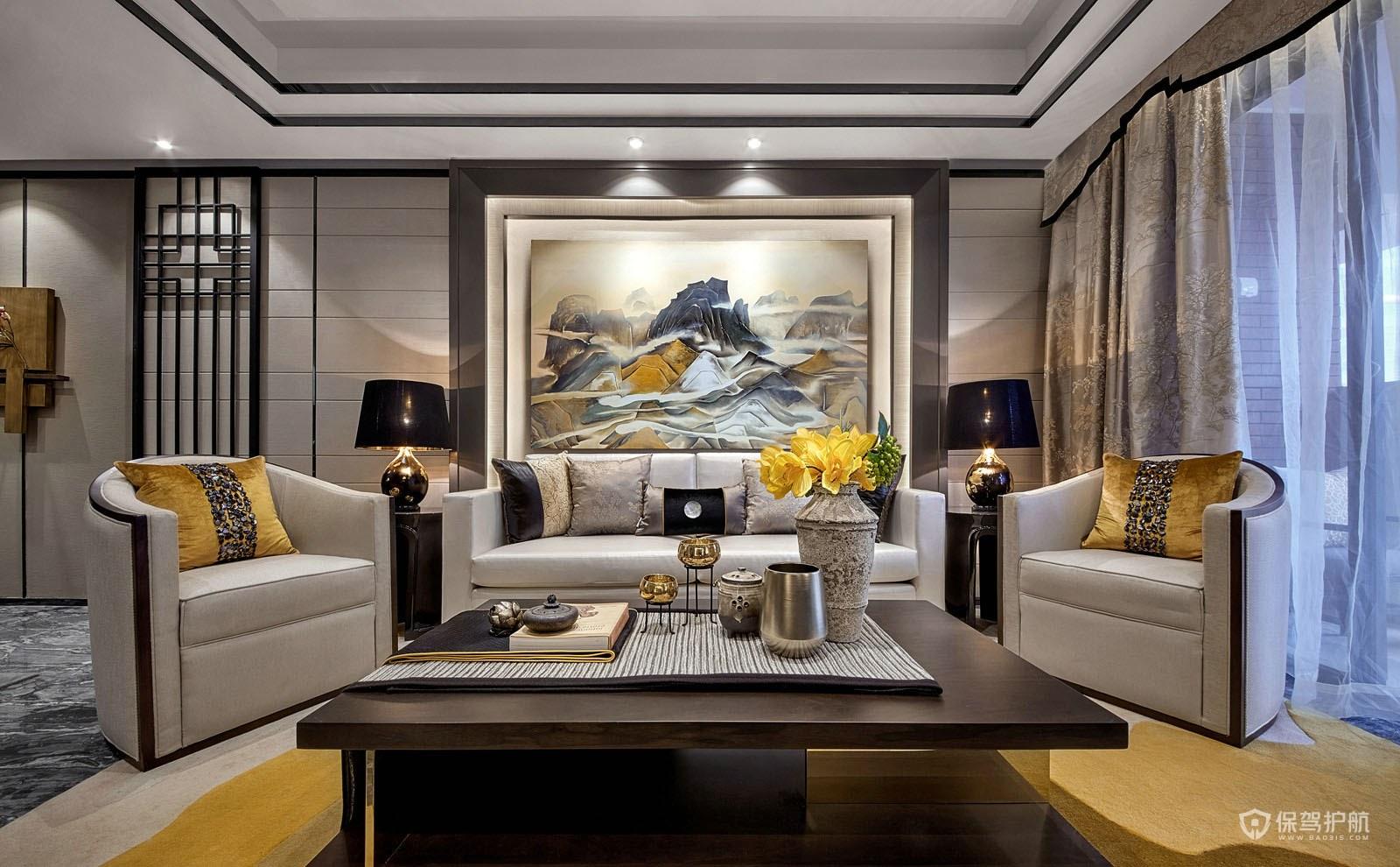 典雅新中式风四居室客厅装修效果图