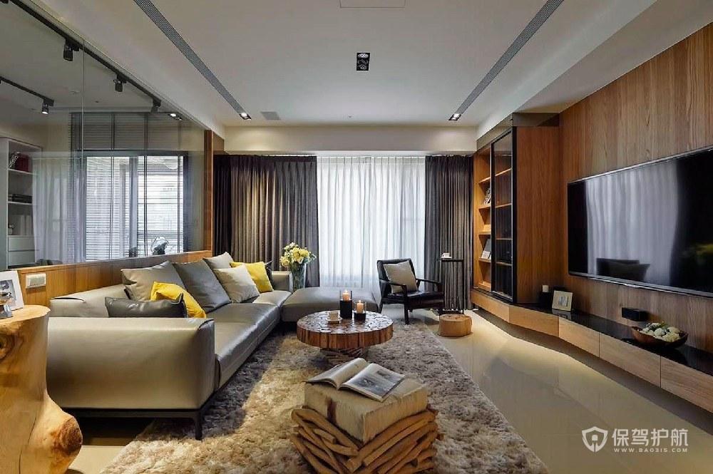 110平现代简约二居室客厅背景墙装修…