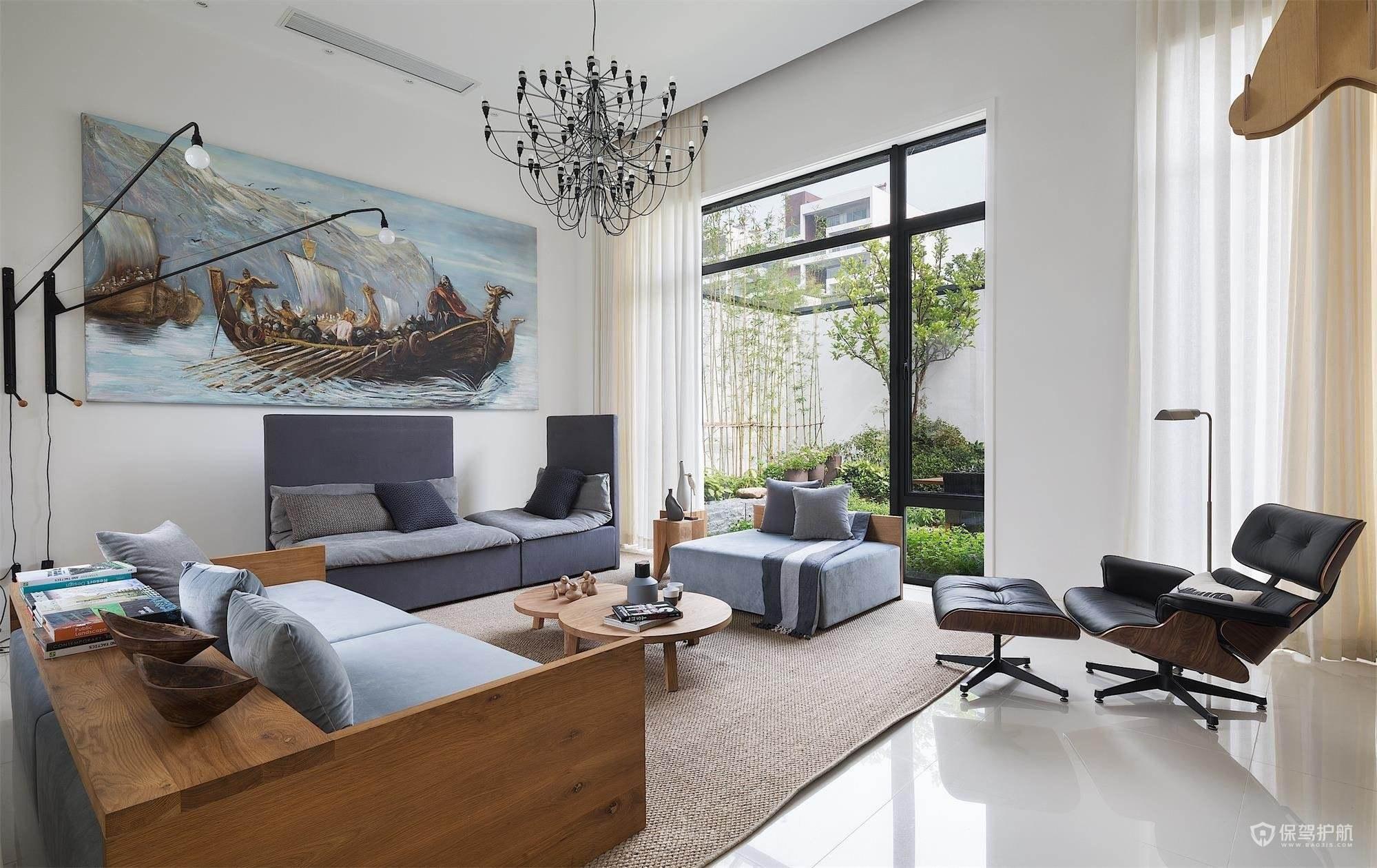温馨舒适别墅客厅落地窗装修效果图