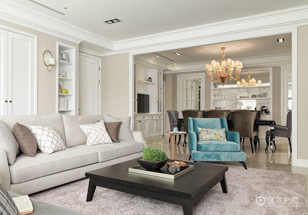 清雅简约美式三居室客厅背景墙装修效…