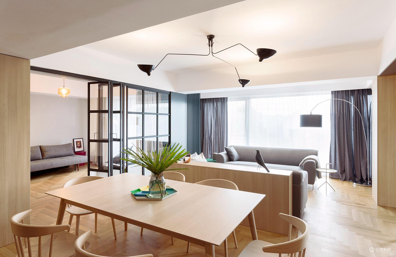 原木極簡風三居室餐廳裝修效果圖