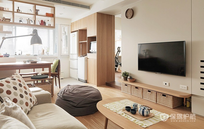 70平原木日式风二居室客厅装修效果图…