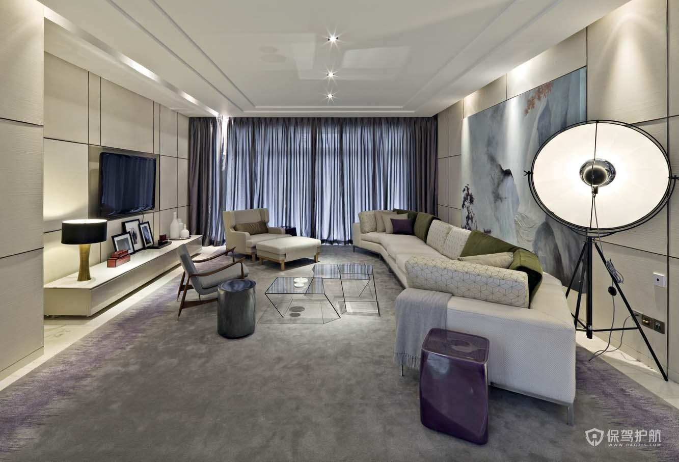 现代紫色系装饰三居室客厅装修效果图…