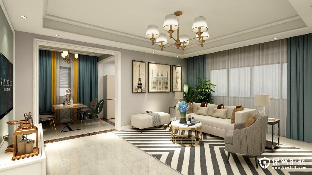 世昌名都129㎡美式风格三居室装修效果图
