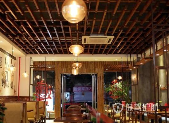 100平米中式风格饭店吊顶装修效果图…