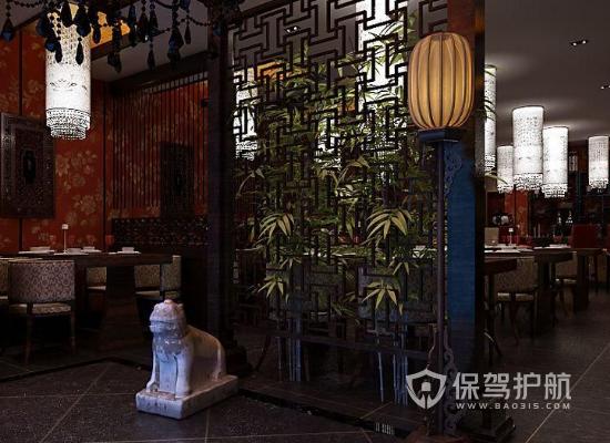 120平米中式风格饭店隔断装修效果图…