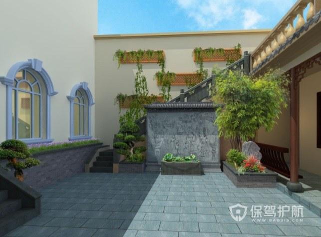 中式四合院式别墅花园地板装修效果图…