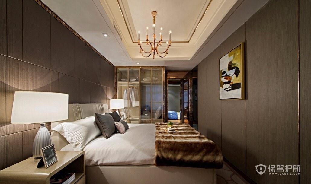 現代輕奢風格二居室臥室吊頂裝修效果…