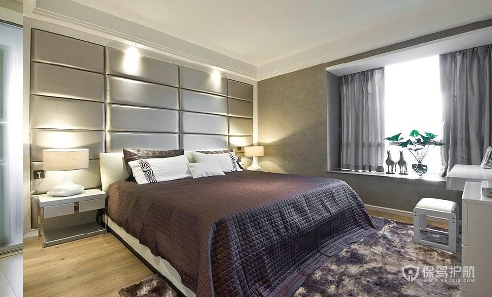 现代简约风公寓卧室软包背景墙装修效…