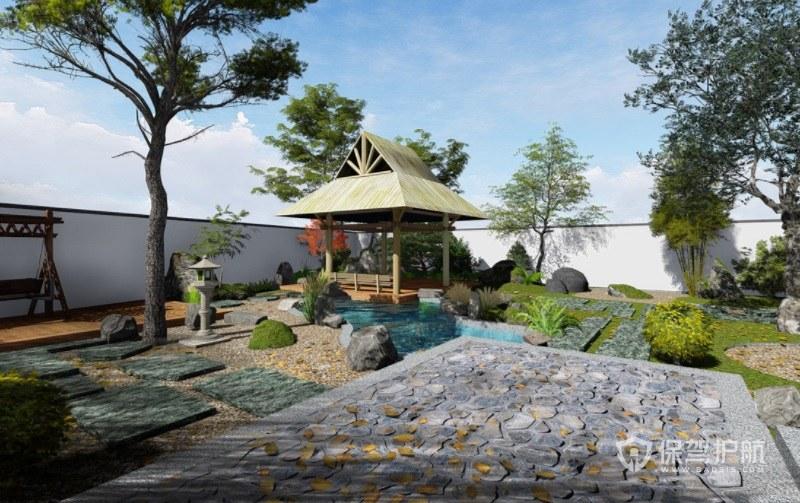 现代田园风别墅楼顶花园装修效果图