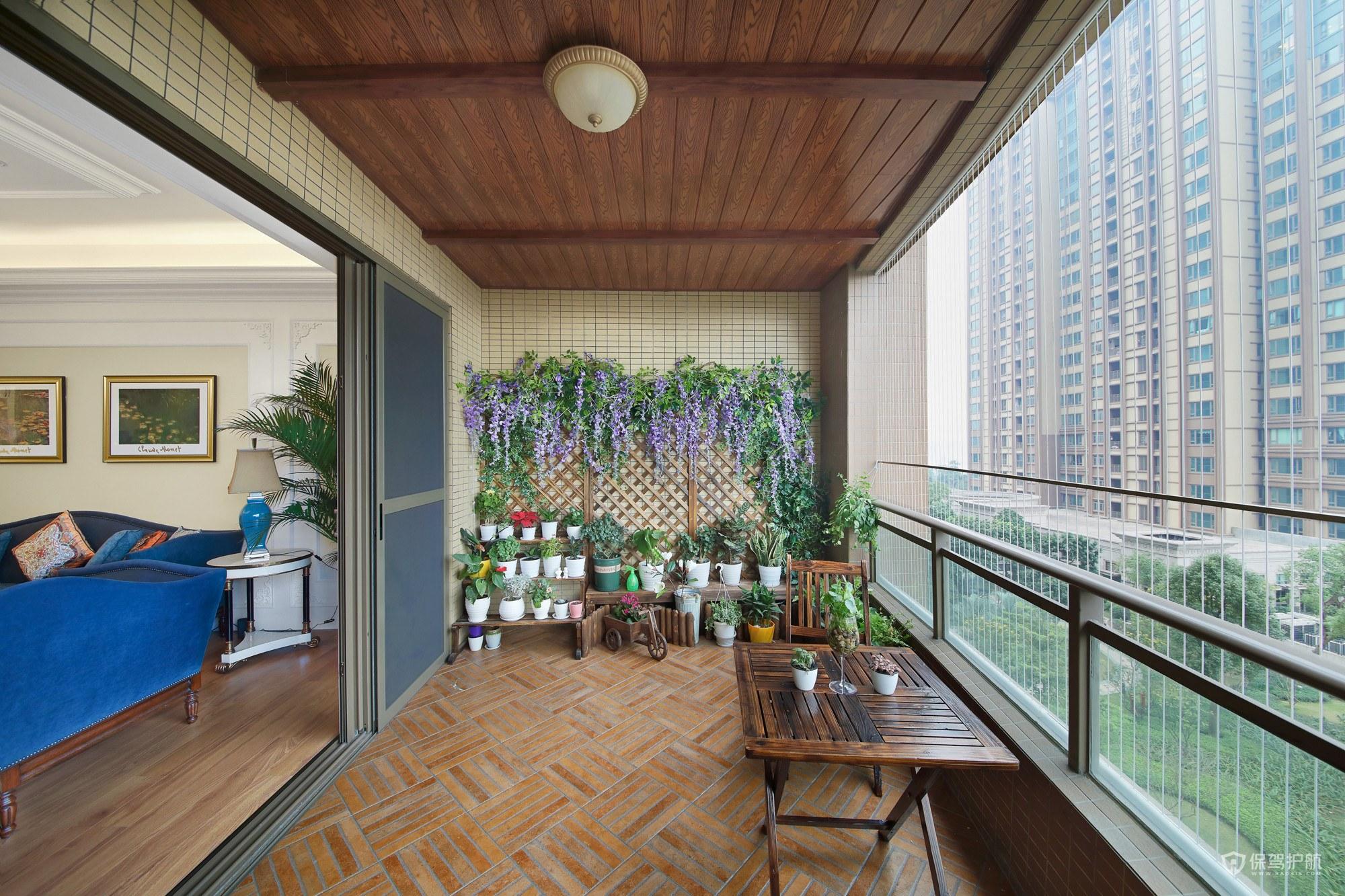 150平优雅古典风格三居室阳台吊顶装…