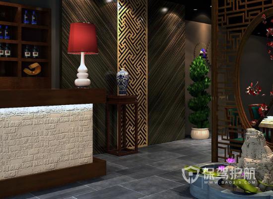 40平米中式风格饭店收银台装修效果图…