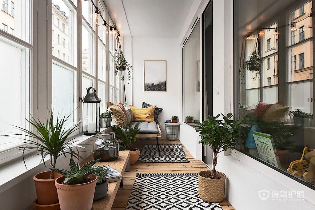 温馨北欧风三居室公寓阳台装修效果图…