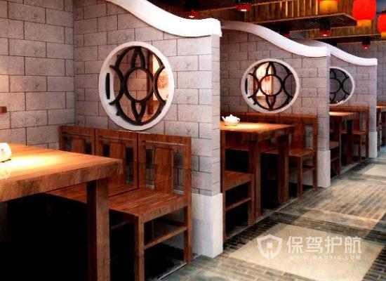 117平米中式风格饭店隔断装修效果图…