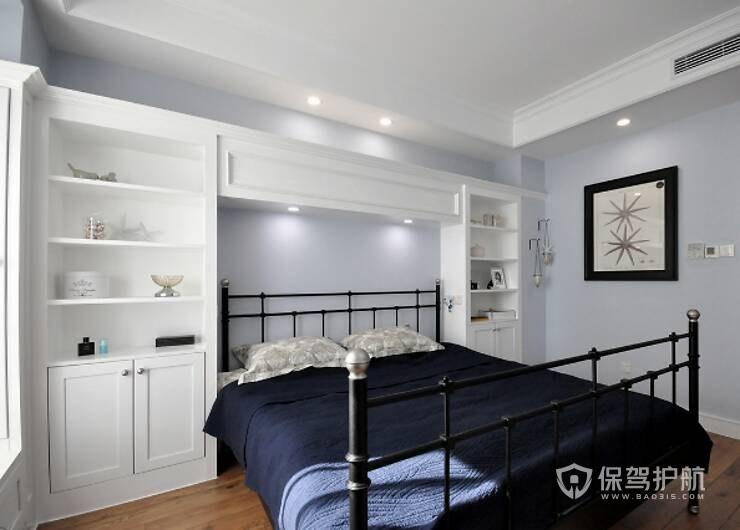 130平优雅简欧风三居室卧室床头柜装…