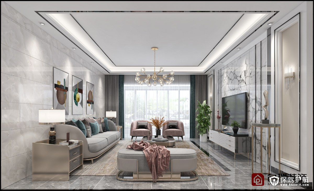 诚兴园现代轻奢风格三居室装修效果图…