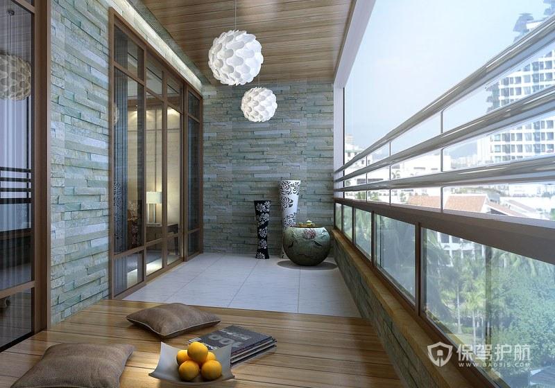 120平中式二居室陽臺吊頂裝修效果圖…