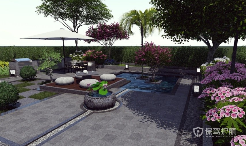 后现代田园风别墅顶楼花园装修效果图