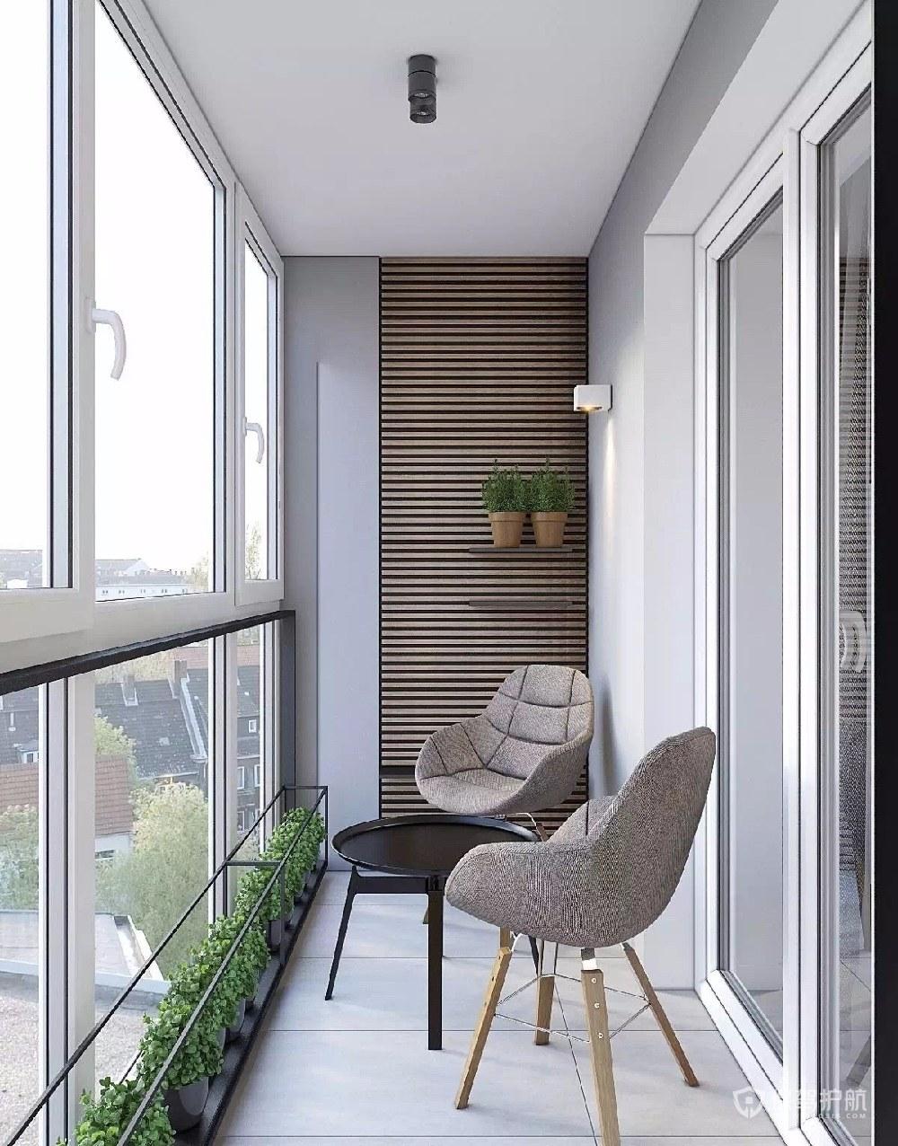 现代简约二居室封闭式阳台装修效果图