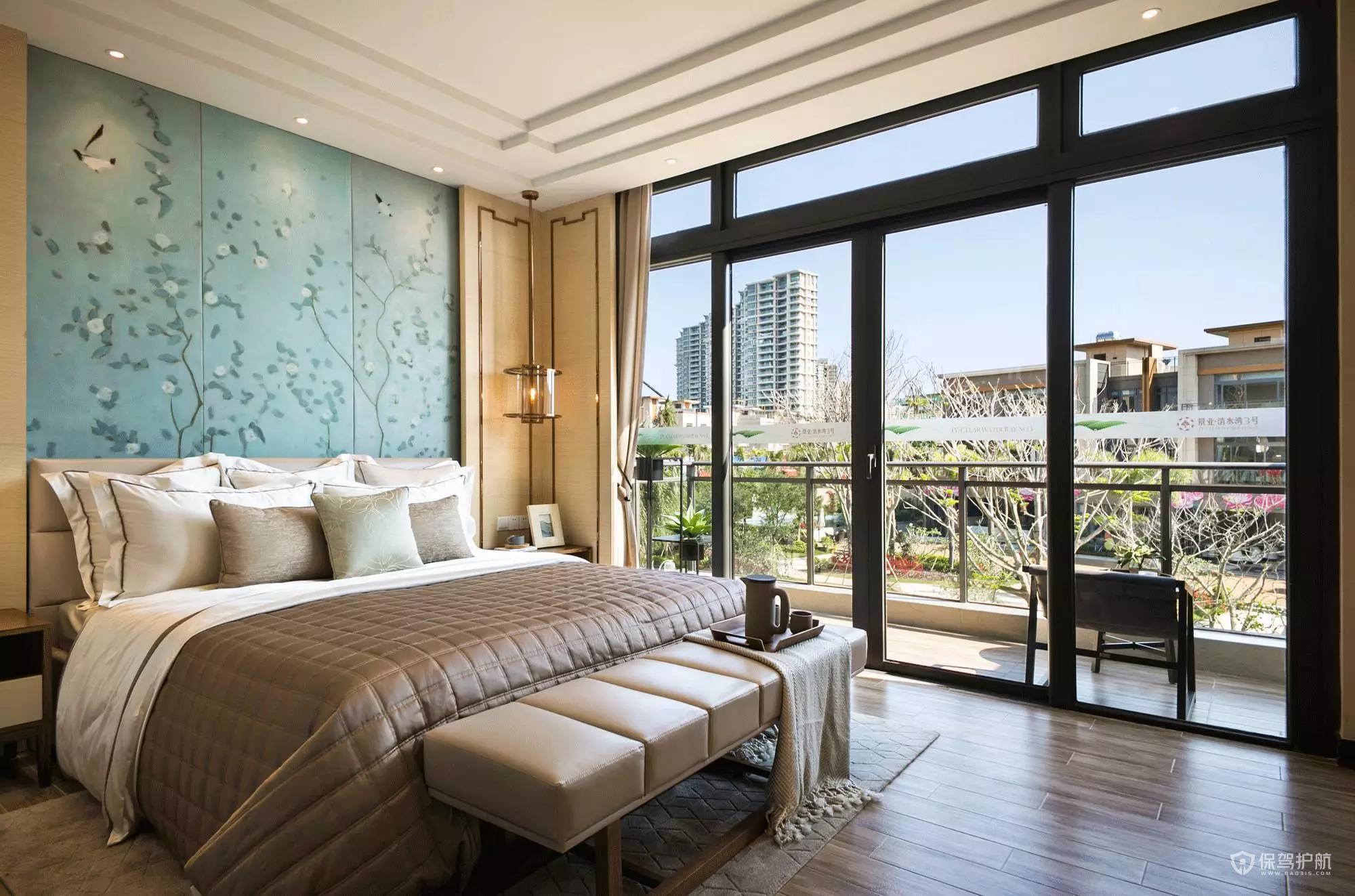 典雅新中式別墅臥室背景墻裝修效果圖…