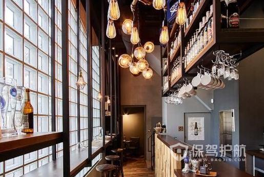 55平米工业风格咖啡馆吧台装修效果图…