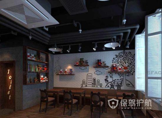 30平米小型工业风格咖啡馆装修效果图…