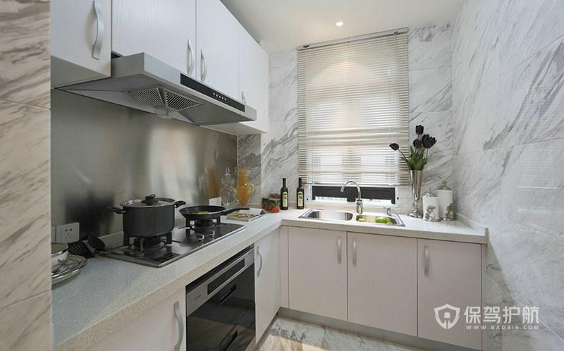 現代簡約小戶型白色廚房裝修效果圖