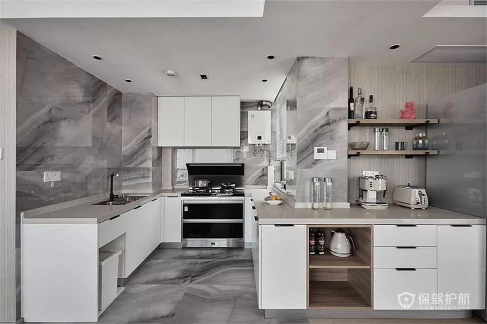 120平现代风二居室创意拐角厨房装修…