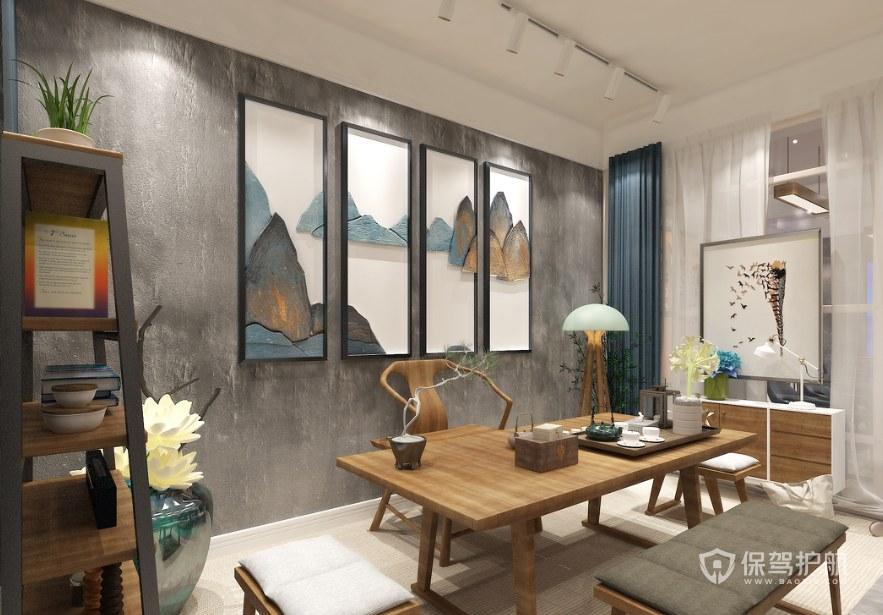 新中式茶韵接待室装修效果图