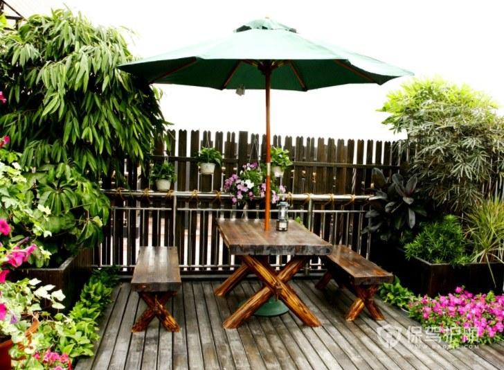 休闲田园风楼顶小花园地面装修效果图