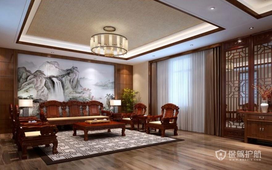 中式山水领导办公室装修效果图