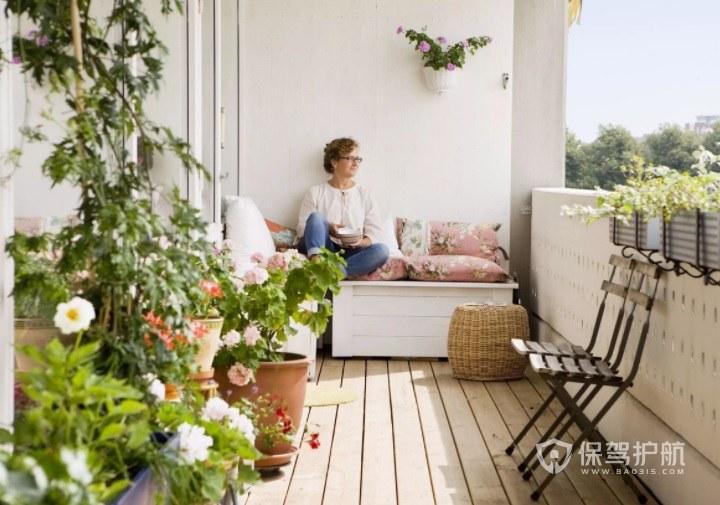 公寓創意休閑簡約陽臺小花園裝修效果…