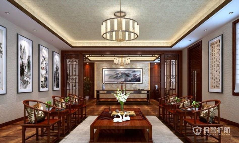 中式风格办公接待厅装修效果图