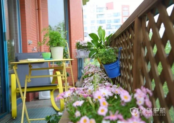 公寓创意简约小阳台花园围栏装修效果…
