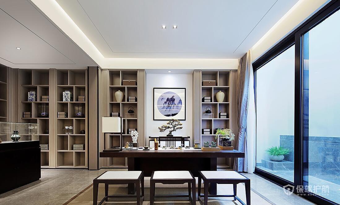 静谧古典中式别墅书房装修效果图