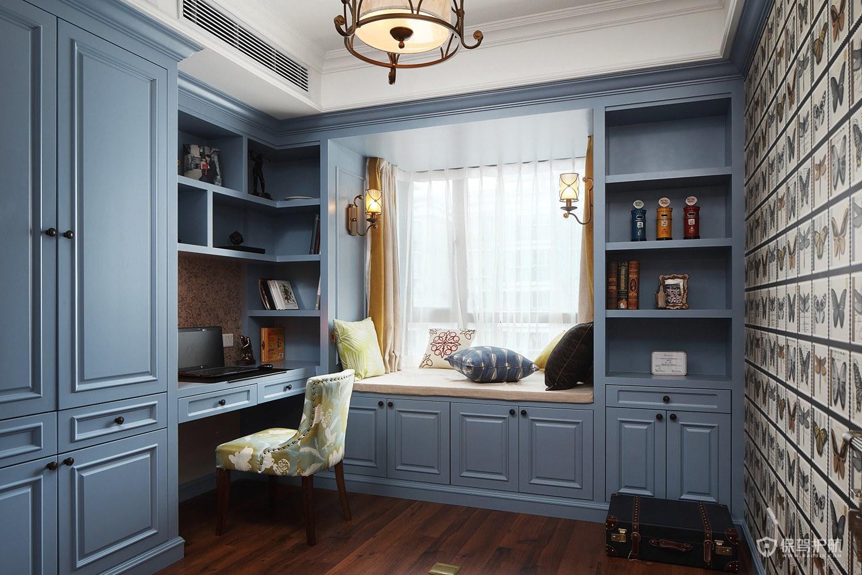 蓝色简欧风别墅小书房飘窗装修效果图