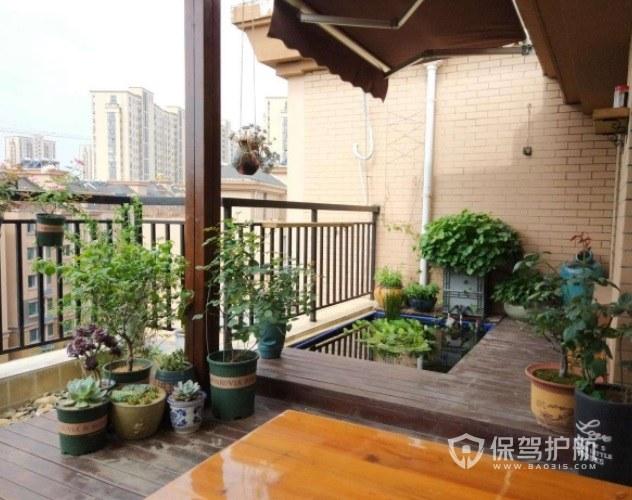 别墅阳台创意花园小水池装修效果图