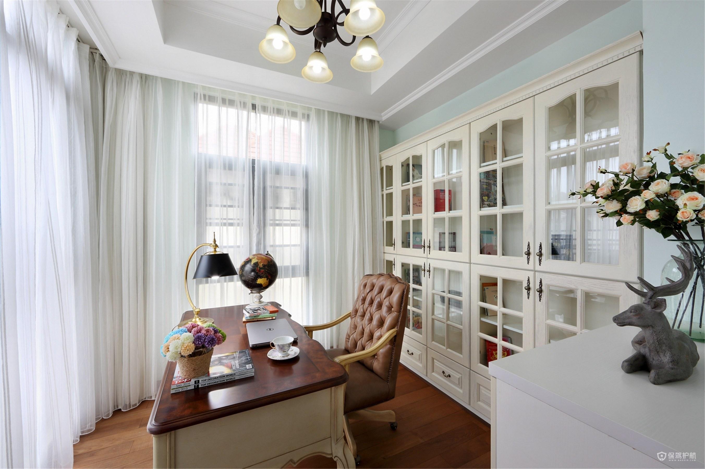 白色美式田园风格别墅书房装修效果图