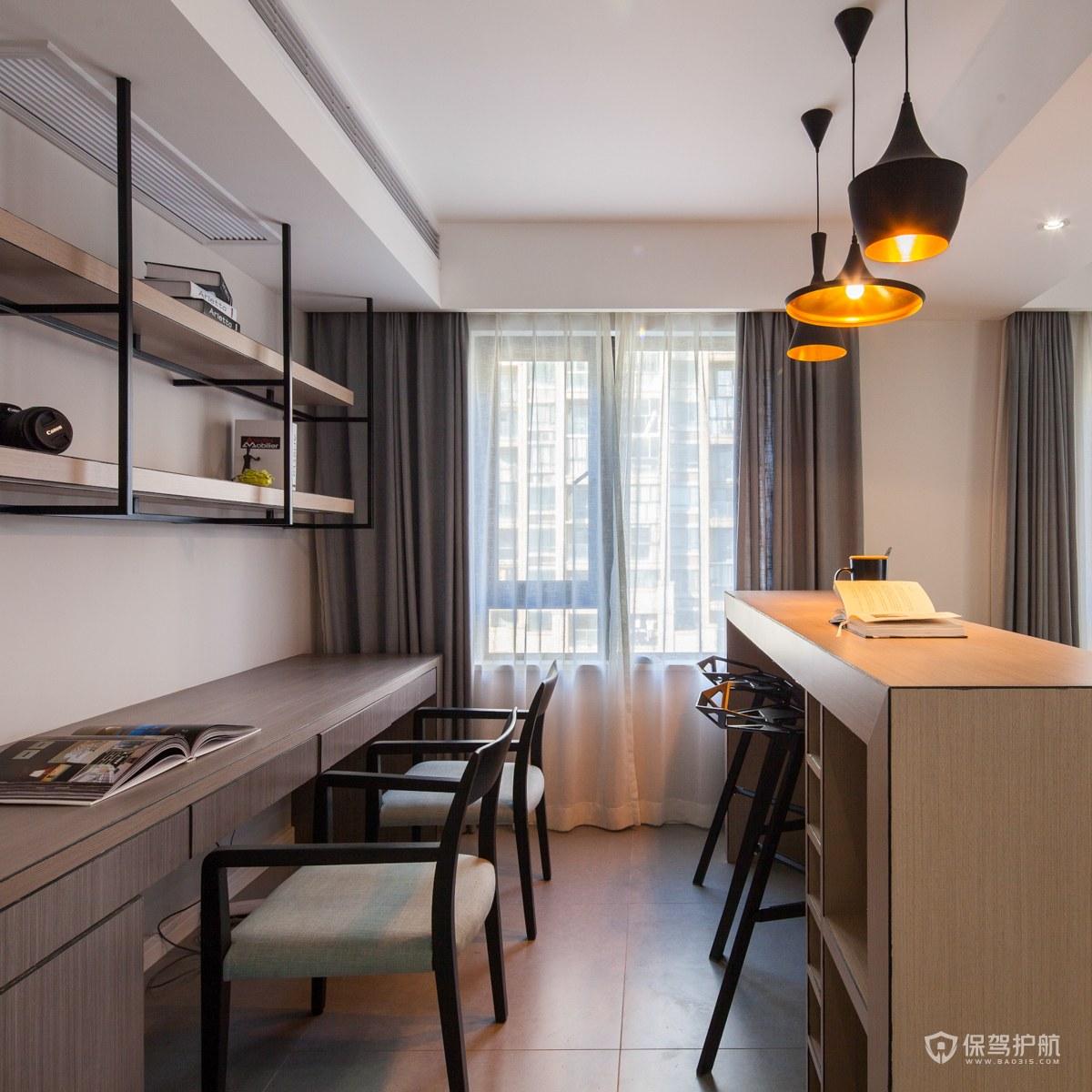 120平现代简约风二居室开放式书房装…