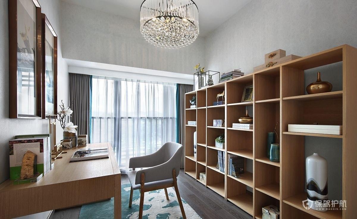 100平新中式三居室书房装修效果图