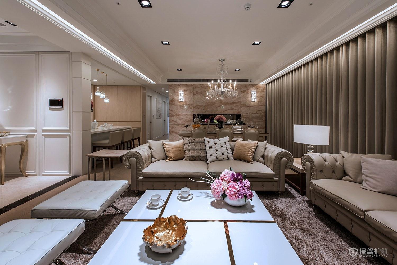 豪华欧式大平层四居室客厅装修效果图…