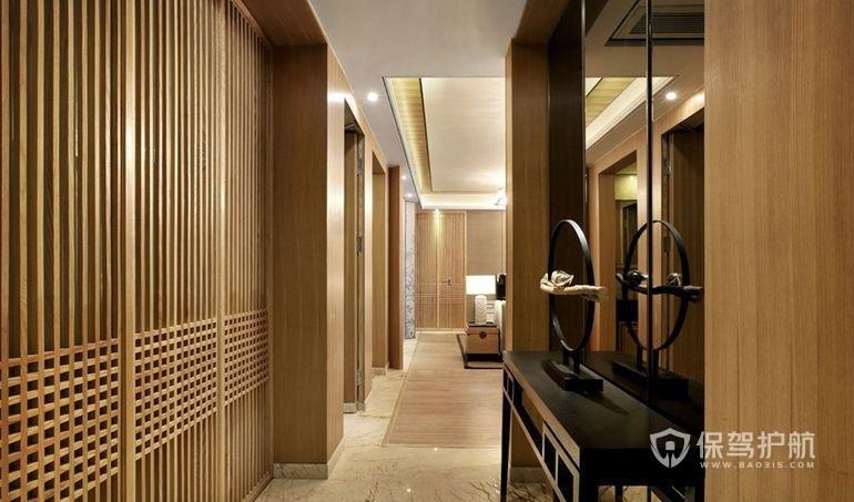 原木中式風格公寓走廊裝修效果圖
