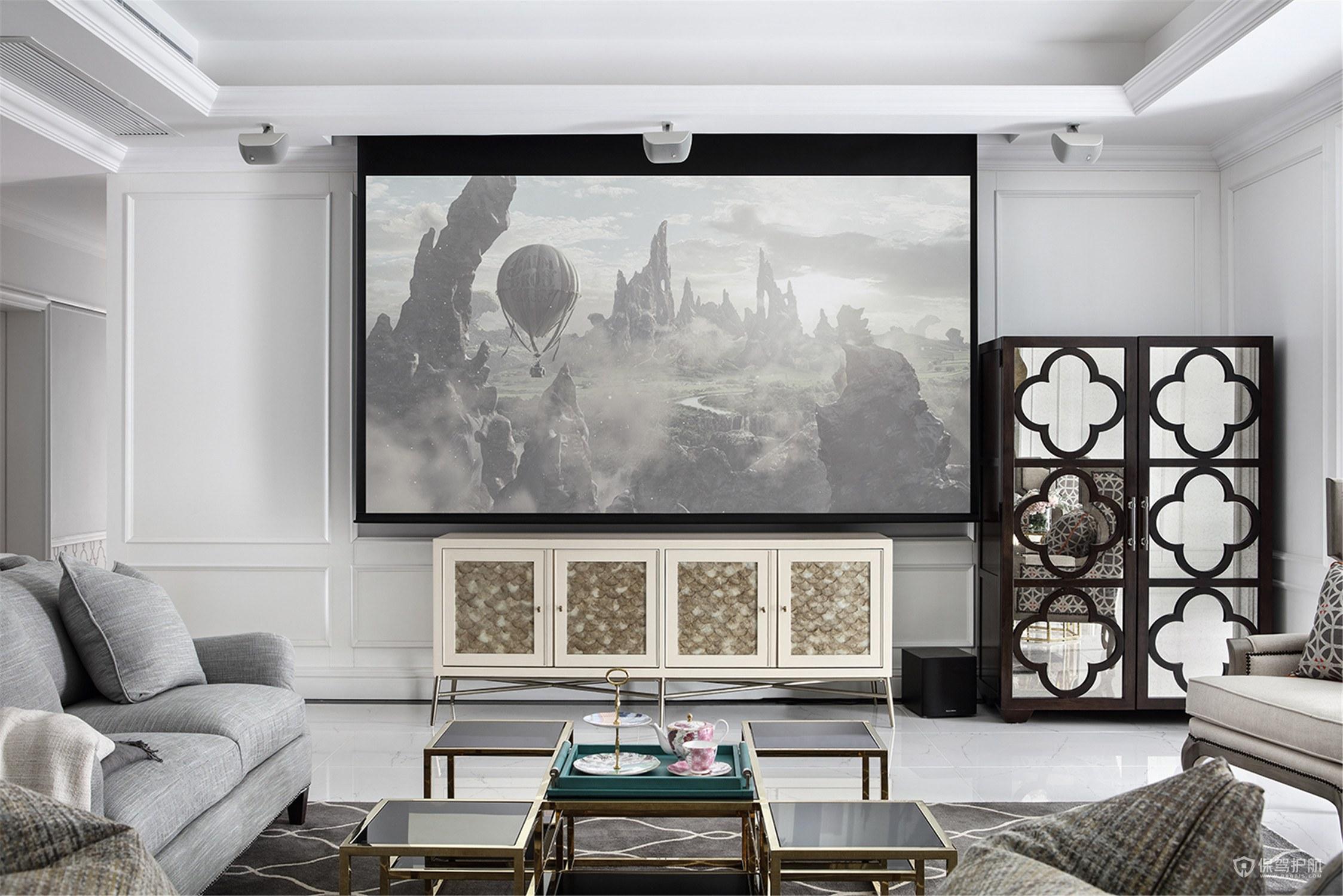 電視墻帶投影儀怎么設計?電視墻帶投影儀效果圖