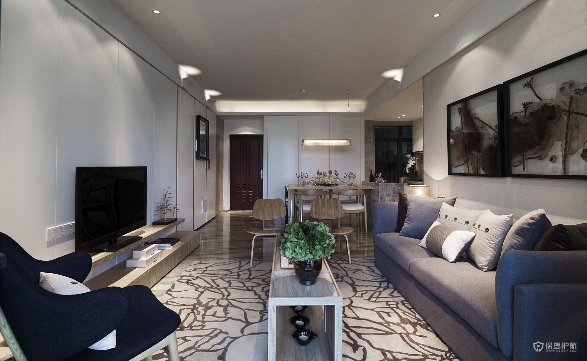 现代简约二居室客厅背景墙装修效果图…