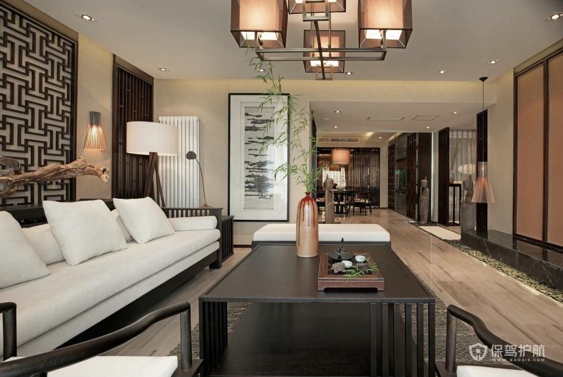 180平中式三居室客厅装修效果图