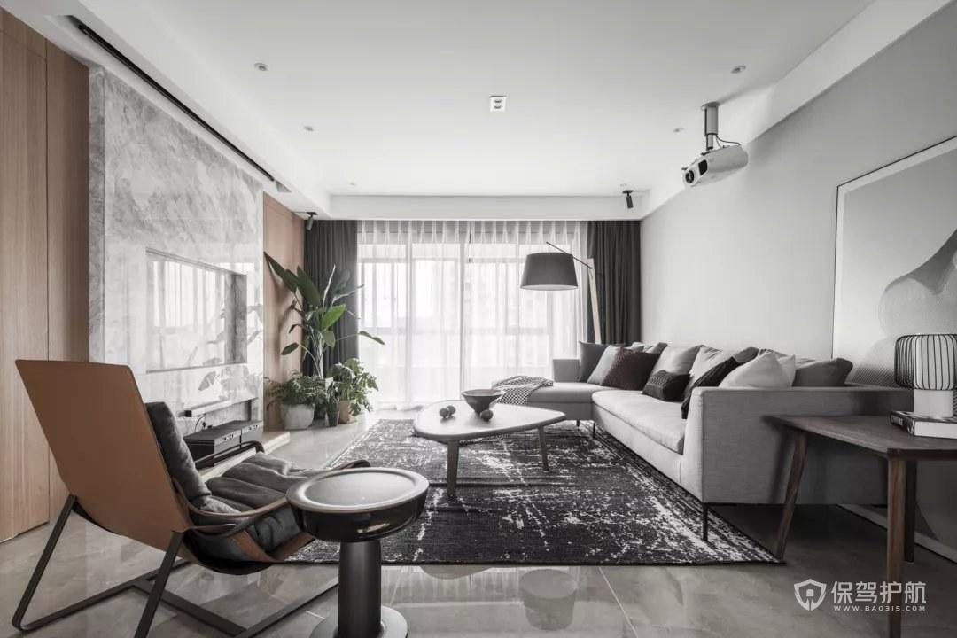 150平现代风格三居室客厅大理石电视…