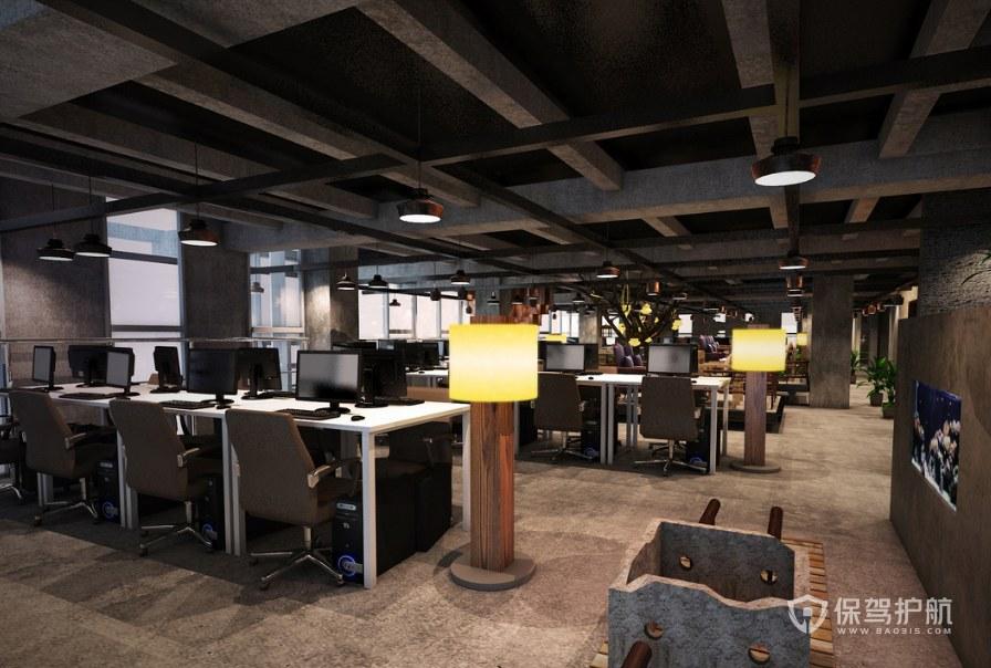 复古风格办公区装修效果图