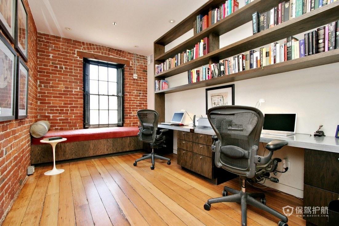 美式三居室双人书房装修效果图